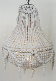 Handmade beaded chandelier, White
