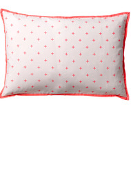 Cross print Grey/orange cushion