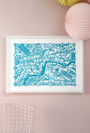 City map print - London, Cereleum Blue