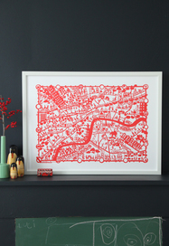 City map print - London, Red