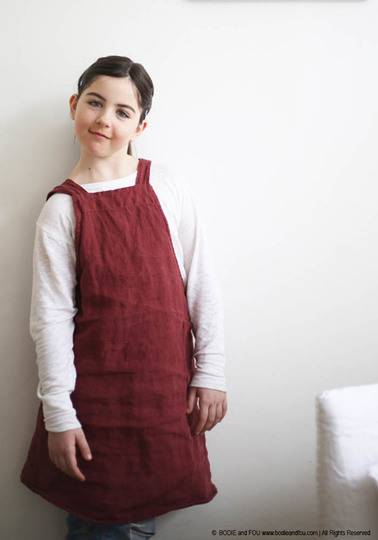 Japanese stonewashed linen apron for children