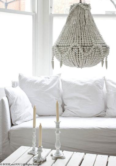 Handmade beaded chandelier, White