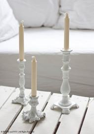 White Cast Iron Candlestick