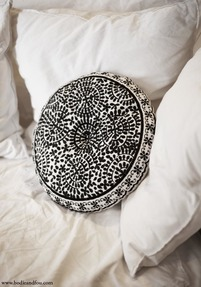 Souk Embroidered Cushion, Round, Black