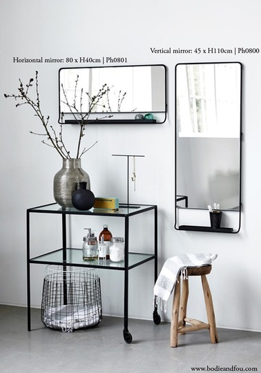 Black framed Mirror with shelf