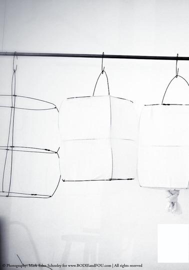 Koushi lampshade, Open, White cotton