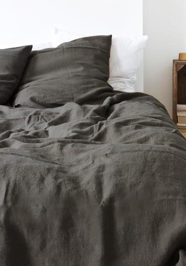 Soft linen pillow case 50 x 70cm - Anthracite