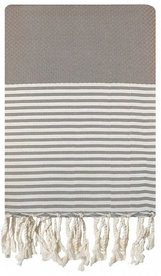 Grey and White Striped Honeycomb Fouta