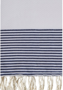 White and Matelot Striped Honeycombe Fouta