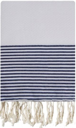 White and Matelot Striped Honeycombe Fouta